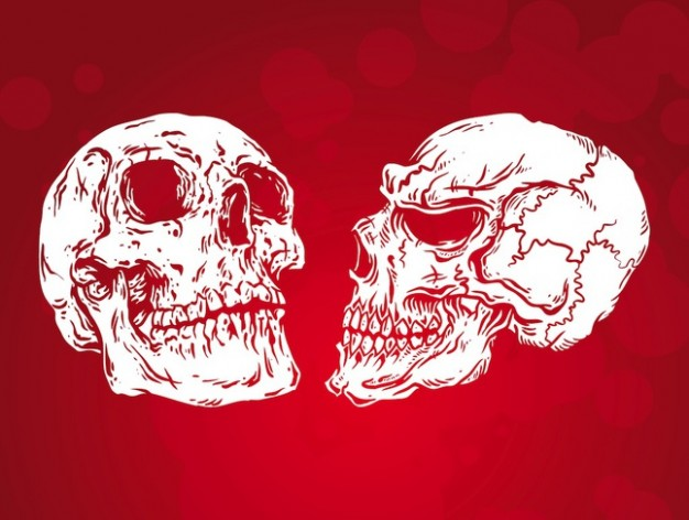 Halloween simple Tattoo dead skulls design with red background about Day of the Dead Art