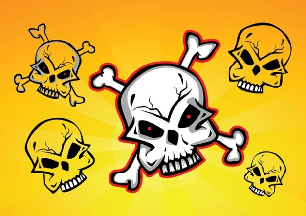 Halloween Skull and Bones skulls with yellow background about dangerous Opinions