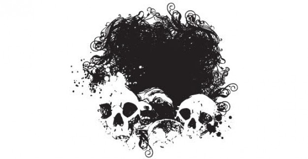 halloween skull designs with dark ink background