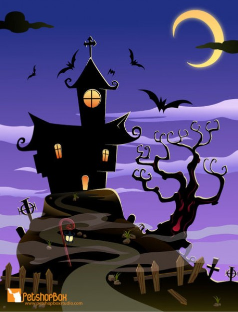 Halloween spooky holiday house halloween with purple night sky background