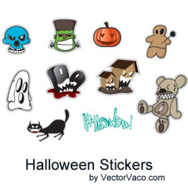 halloween stickers like skull ghost pumpkin mice cat with whtie background