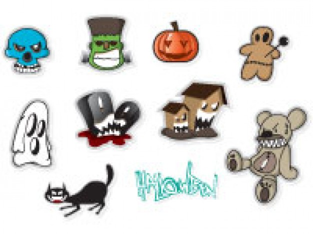 halloween stickers set like skull pumpkin monster with white background