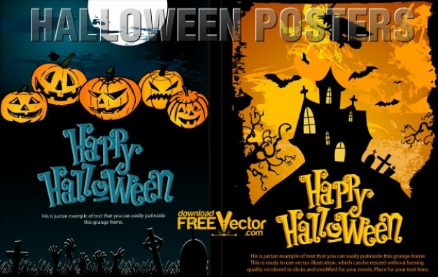 halloween templates with dark full moon and orange sky background