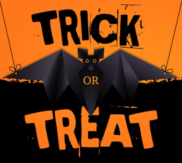 halloween trick or treat card with orange light background