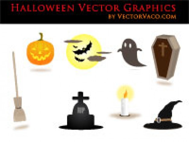 halloween vectors with pumpkin ghost bat witch etc