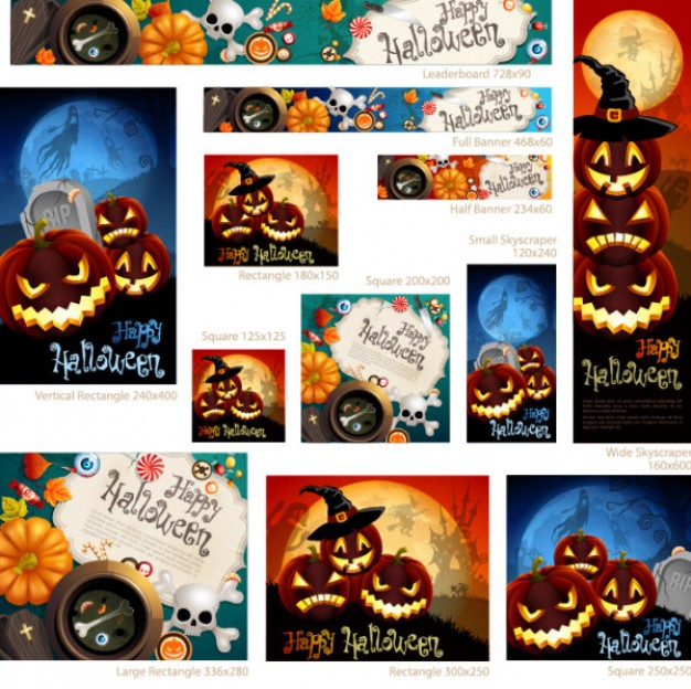 halloween web banners set with happy pumpkins background