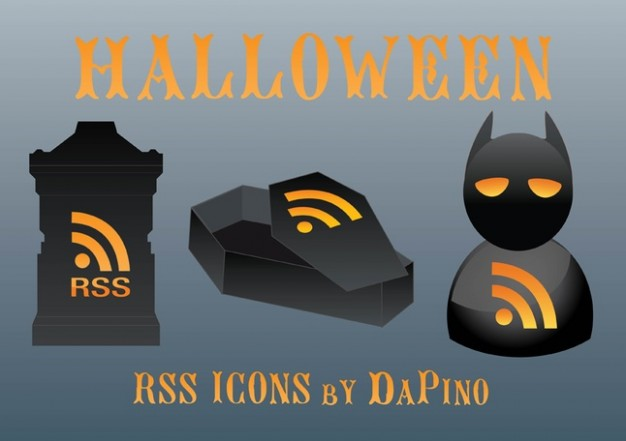halloween web vectors for rss with grey background