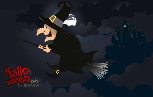 halloween witch flying over cloudy night sky background