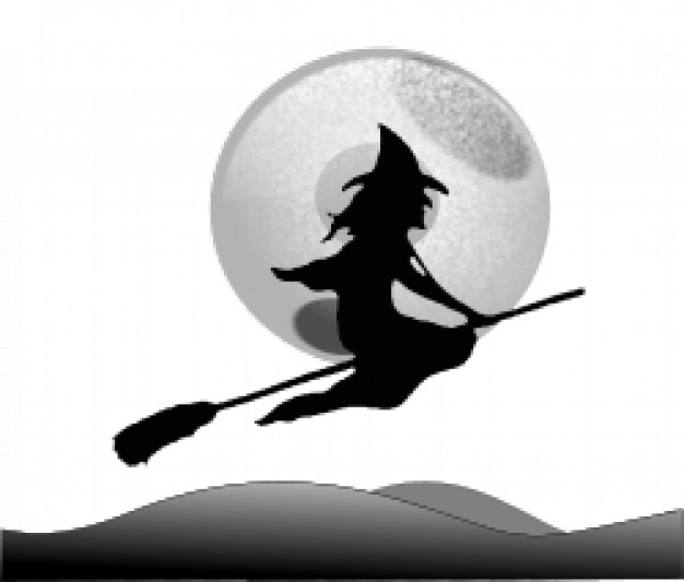 halloween witch  flying over sky with moon mountain background