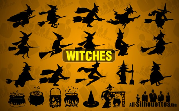 Halloween witches Holidays silhouettes with earth night background about Graphics Opinions