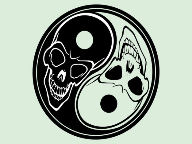 halloween yin yang with skull inside and light blue background