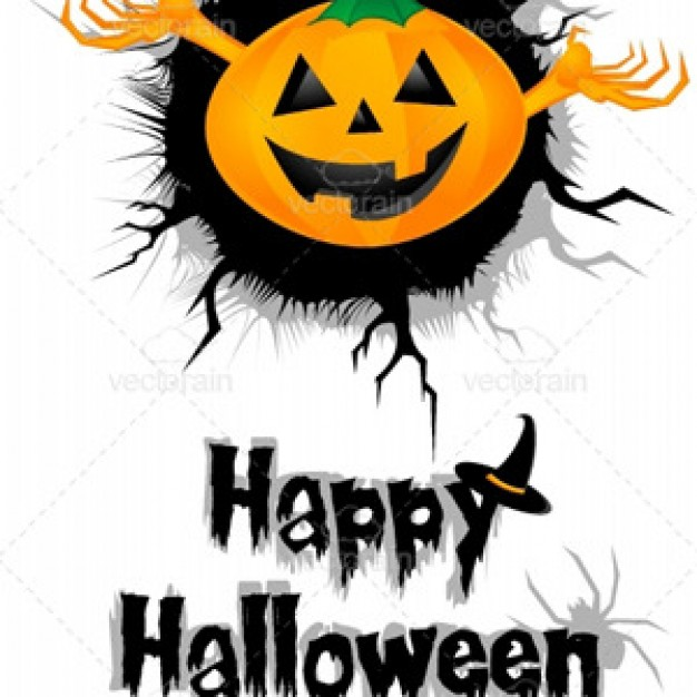 happy halloween invitation including pumpkin ghost with white background
