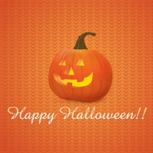 happy halloween Pumpkin with orange grids background