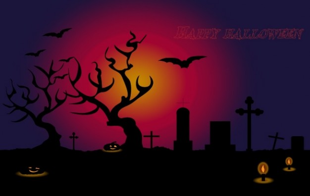 happy halloween with red and purple background