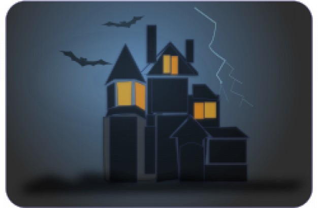 haunted house arounded with bats and night grey background
