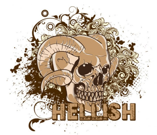 hellish skull pattern for t-shirt design in brown