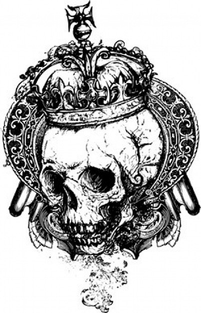 Heraldry wicked Genealogy skull with crown about Coat of arms Art