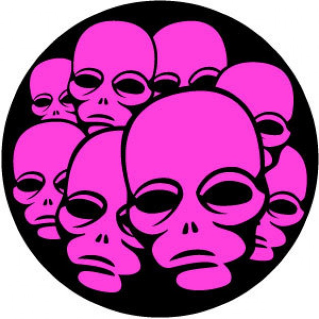 Holidays pink Chicago alien faces with black circle background