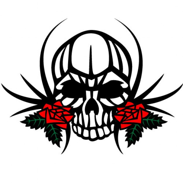 Human skull human arounded with two roses about Roses Plants