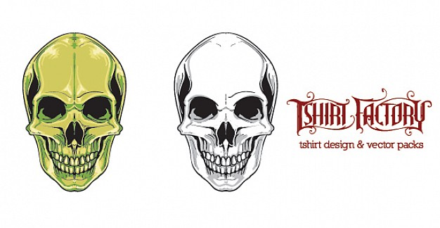 human skull pair with different color green and white