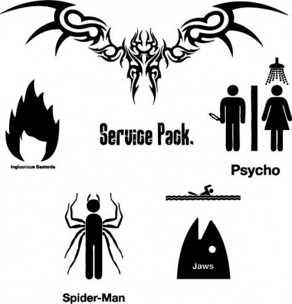 icons service pack with fire spider fish head