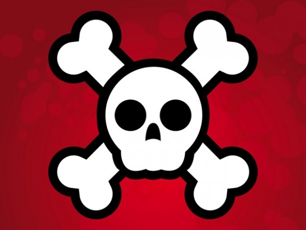Jolly Roger simple Piracy illustration pirate skull flag with red background