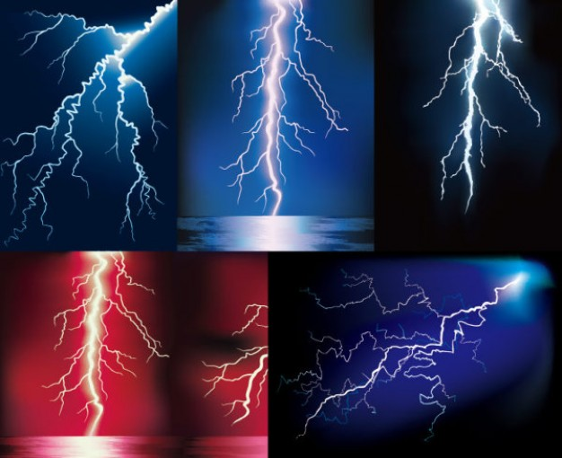 lightning with different color background