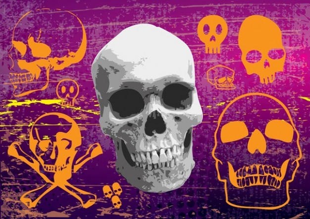 Mardi Gras skulls Holidays graphics with purple background about dangerous element