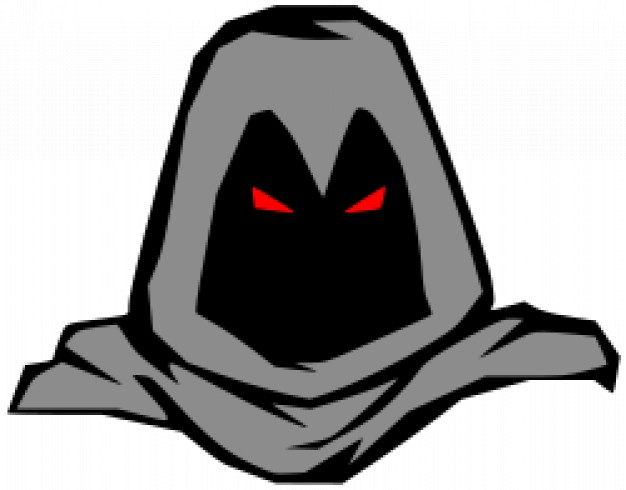 masked man with red eyes light and grey mantle