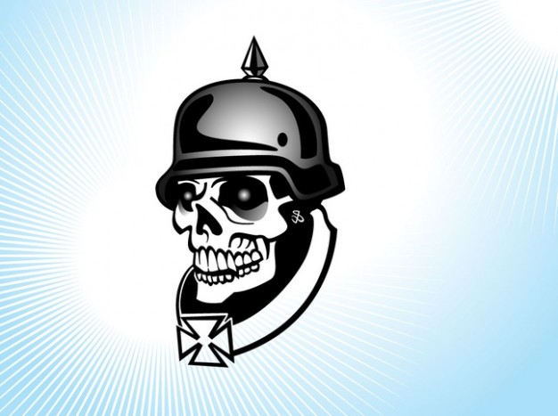 military skull with helmet background about blue background