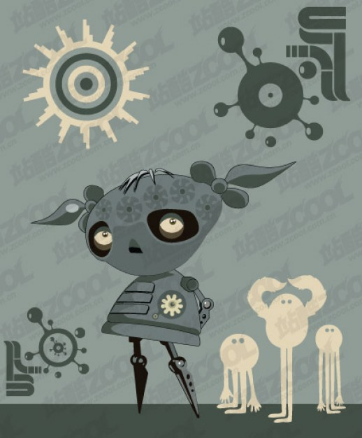 monster machine illustrations of alternative material with grey background