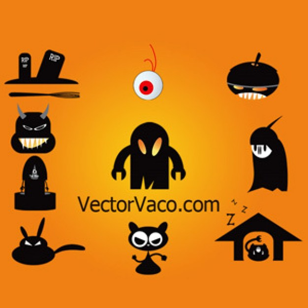 monsters in black solid with orange background