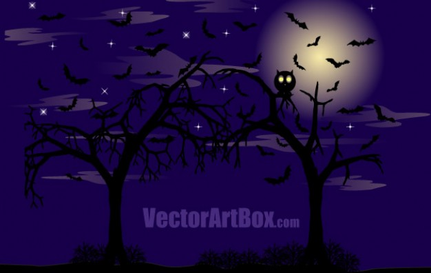 Moon dark Germany forest poster with blue background about owl halloween element
