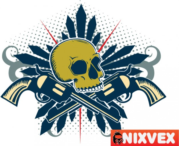 nixvex skull with guns with blue style