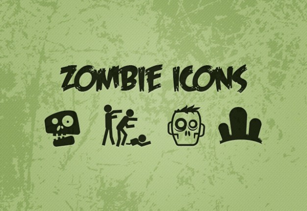 Odor green zombie icons set with green background halloween elements