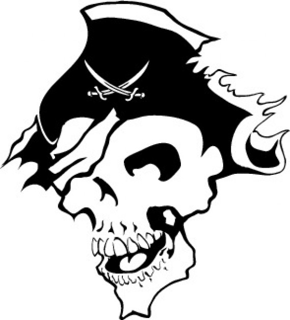 Piracy pirate Maritime skull image with torn hat about dangerous element