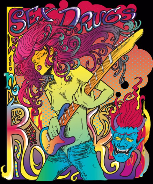 psychedelic rock star poster with guitar dark background about music