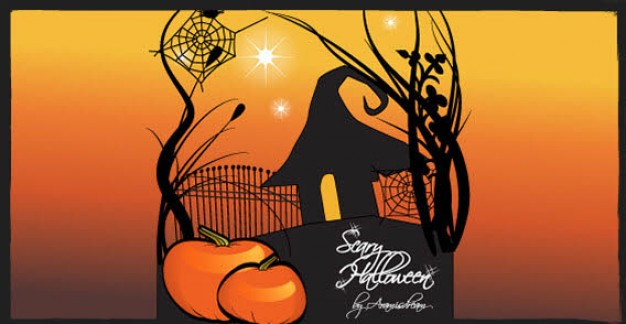 Pumpkin Fruit and Vegetable mixed with sunset background about halloween scene