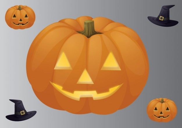 pumpkin hat of halloween with grey background