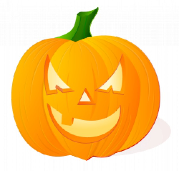 pumpkin with angry face expression withgreen stalk