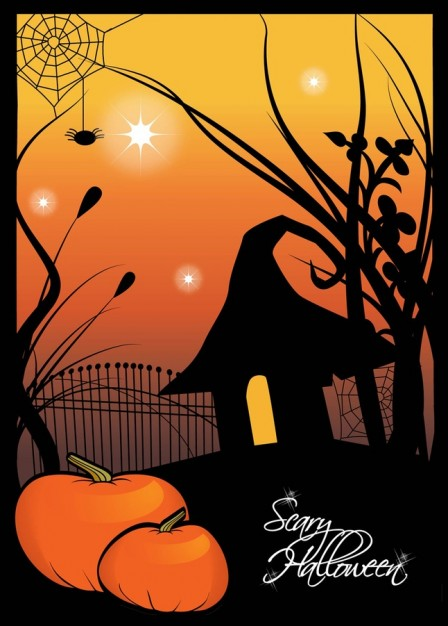 pumpkins and a silhouette scene of halloween with orange light background