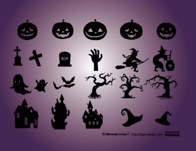 pumpkins cementery witch castle dead tree etc of halloween elements