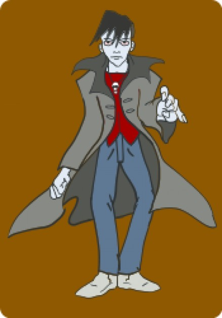 punk vampire with grey wind coat over brown background