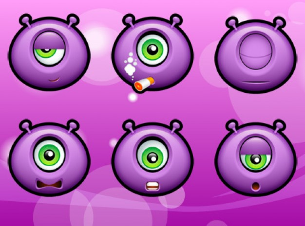 purple monsters icons with purple background