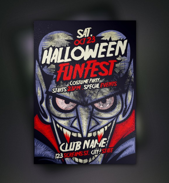 purple vampire halloween flyer template with dark background
