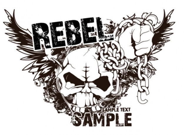 rebel t-shirt design with people skull and hand swirl