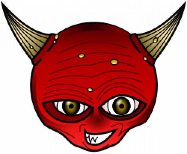 red devil head with brown horn and eyes