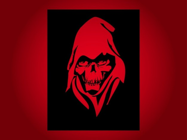 red skeleton for t-shirt print with dark background