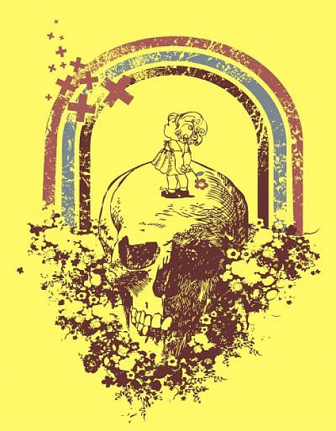 Retro vintage skull design with rainbow and yellow background