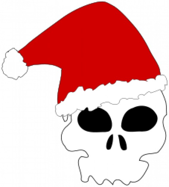 santa skull with red Christmas hat